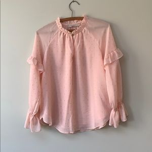 Peachy Pink blouse with gold sparkles